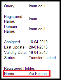 Whois result for Knan.co.il