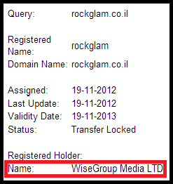 Whois result for Rockglam.co.il